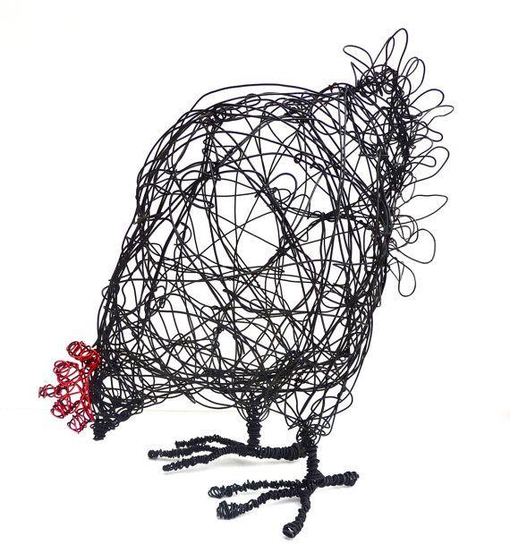 Wire Hen Sculpture PDF instructions & template