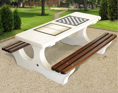 Concrete Outdoor Chess And Backgammon Table With Benches