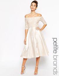 Image 1 of True Decadence Petite Lace Bardot Midi Prom ...