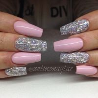 Baby Pink with holographic glitter coffin nails | cute ...