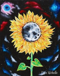 Moonflowers, oil painting, sunflower painting, moon, space ...
