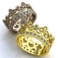 Crown Wedding Bands, Emerald Crown Mens Wedding Band, Ruby ...