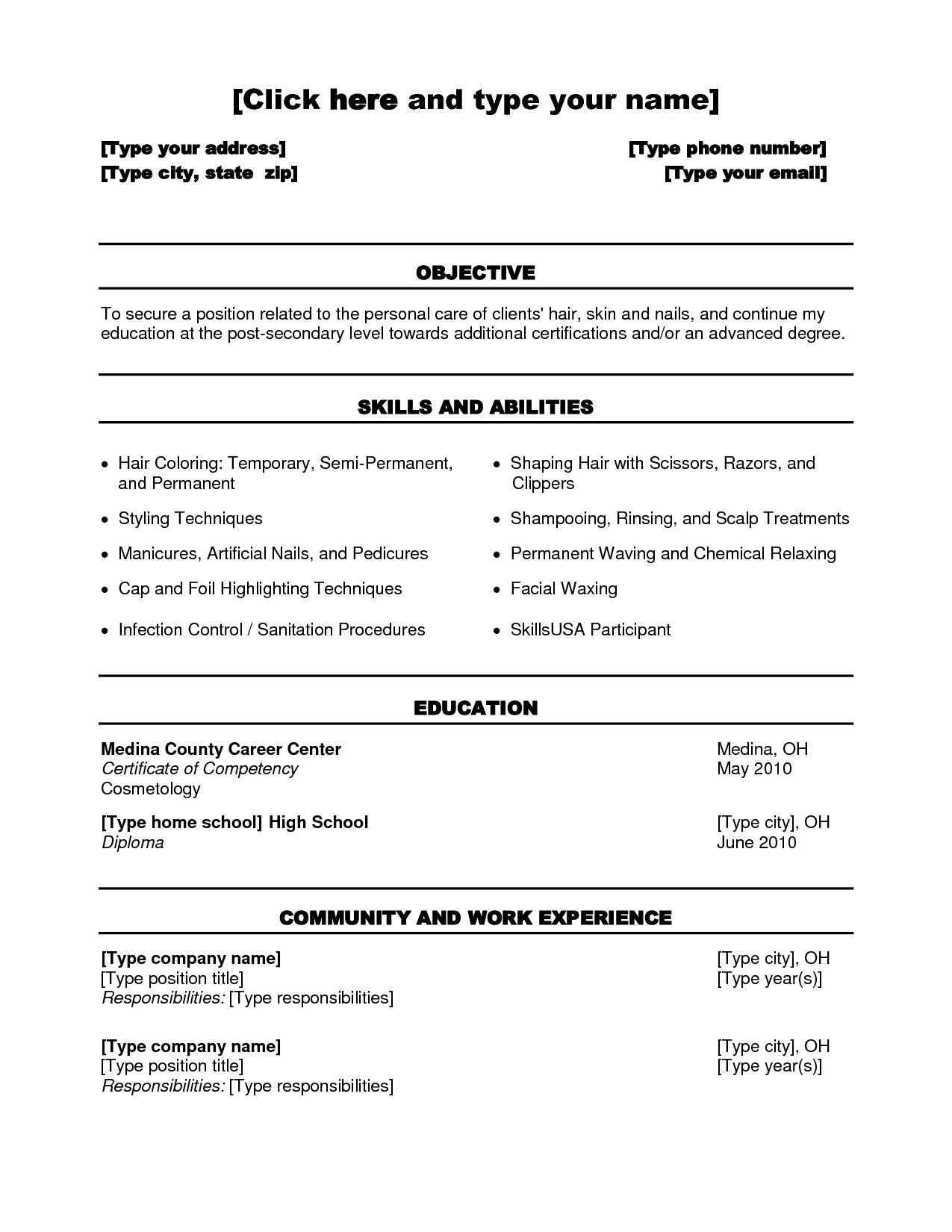 Cosmetologist Resume Template