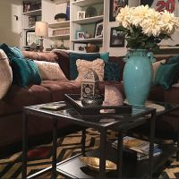 Cozy brown couch with teal accents, turquoise and brown ...