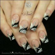 black and white diamond nails
