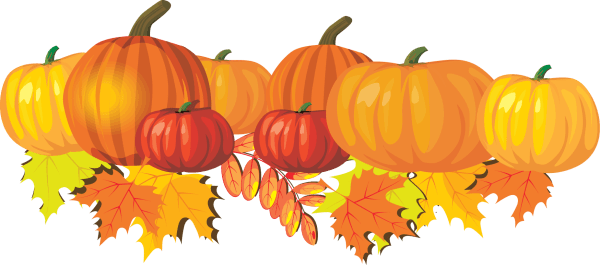 pumpkins and leaves clip art