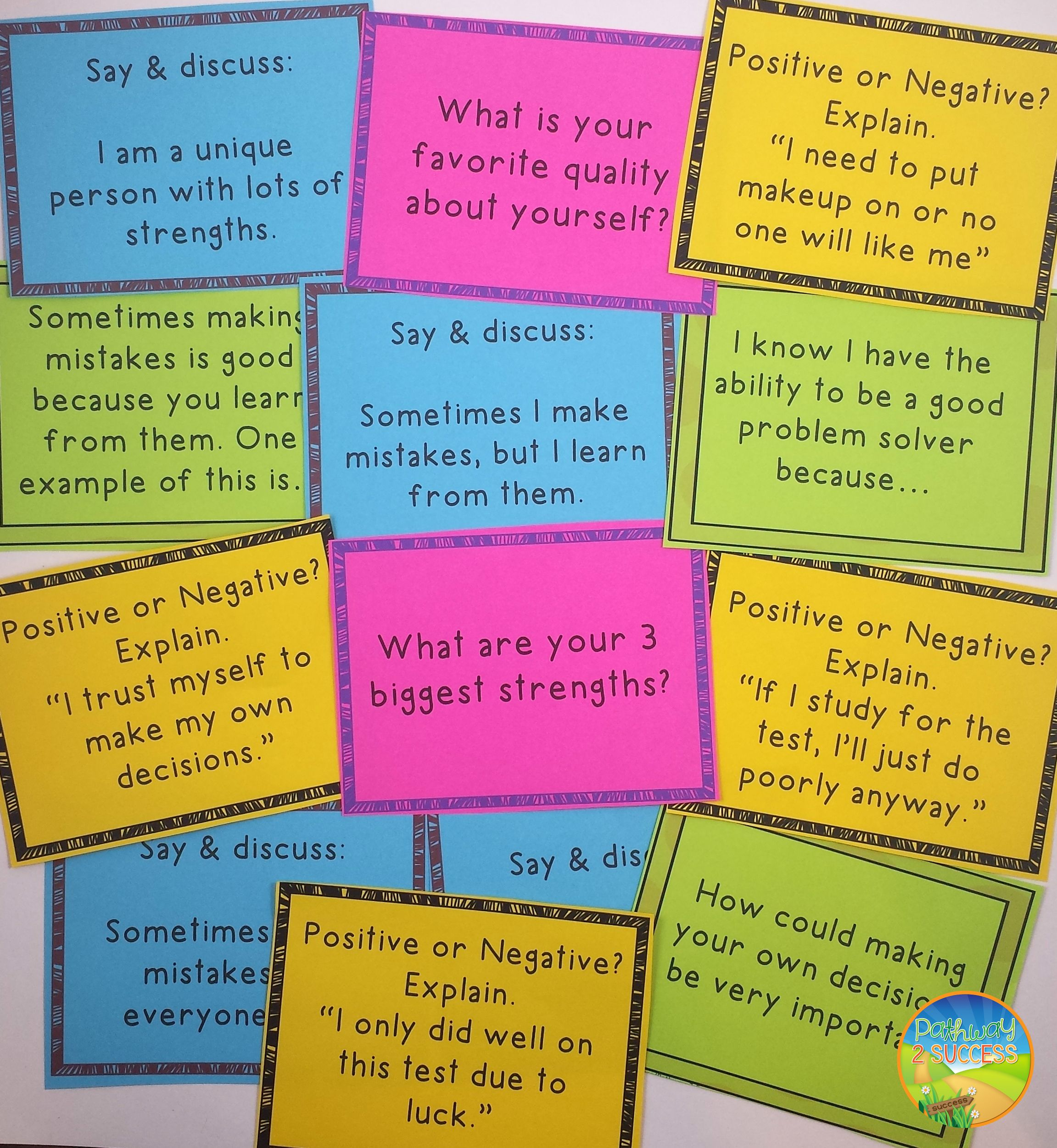 Self Esteem And Positive Thinking Task Cards