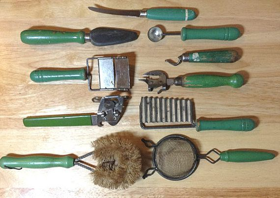 Antique Green Wood Handle Kitchen Gadget by
