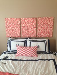 Fabric covered canvas as headboard | Bedroom Decor ...