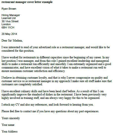 Restaurant Manager Cover Letter Example  Cool Stuff