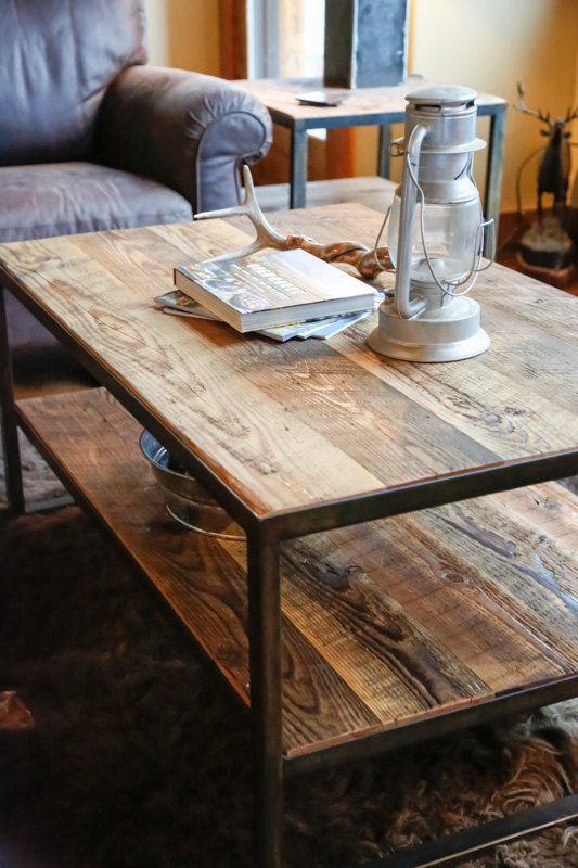 Rustic Steel & Reclaimed Barn Wood Coffee by
