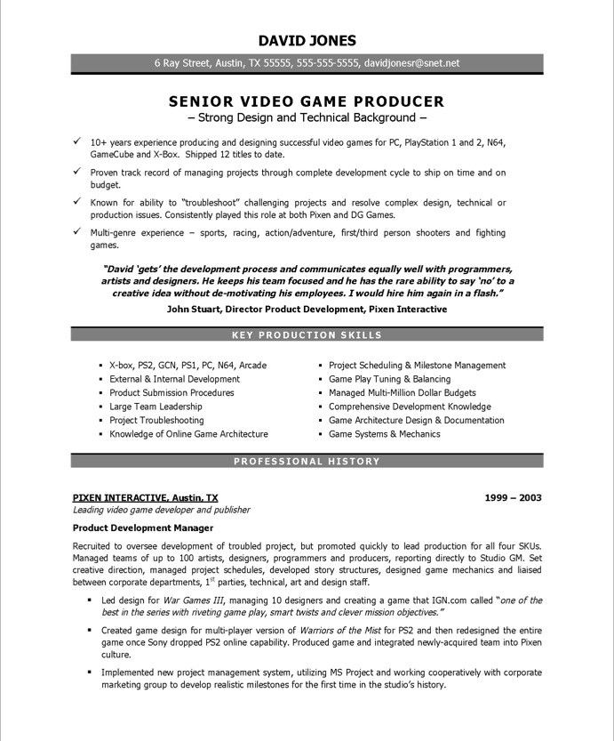 Video Game Producer Page1 New Media Resume Samples Pinterest