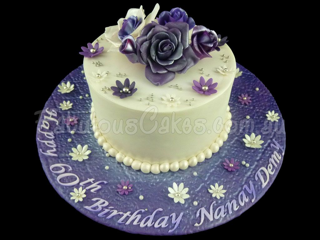 Purple 60th Birthday Cake For A Lady 1 024 768 Pixels