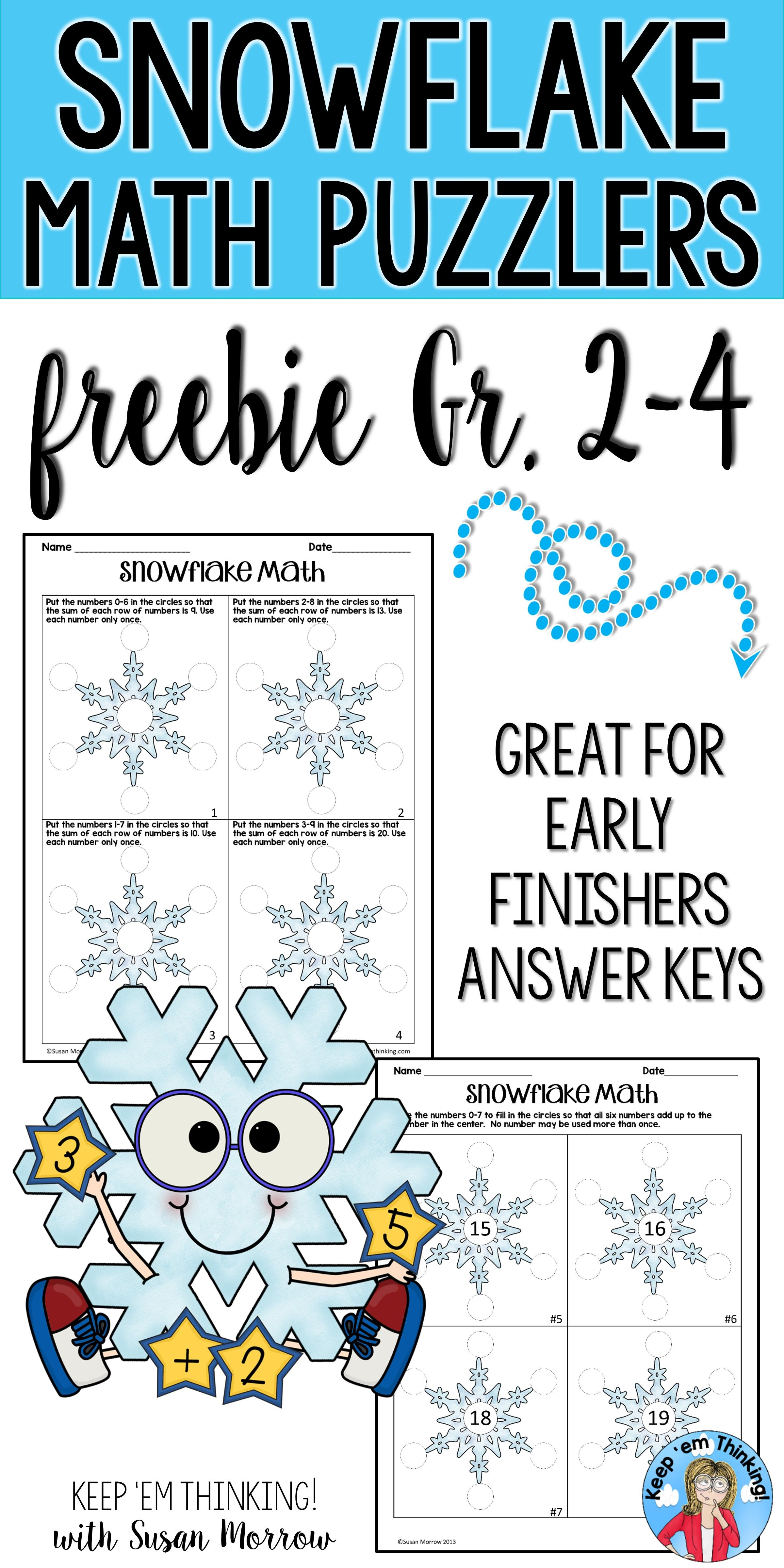 Free Snowflake Math Brain Bogglers Has Winter Themed Math Problems For Second Third Fourth