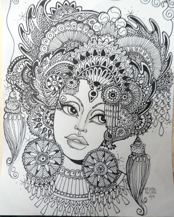 Zentangle Faces Coloring Pages for Adults