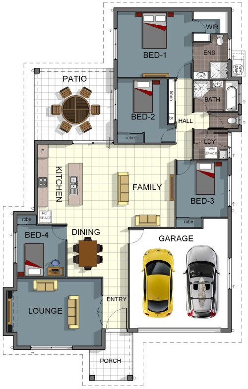 Floor Plan House Design  4 Bedroom 2 Bathroom Double