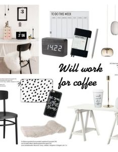 Will work for coffee by helenevlacho liked on polyvore featuring interior interiors decoratinginterior designletterscoffeedesign also rh pinterest