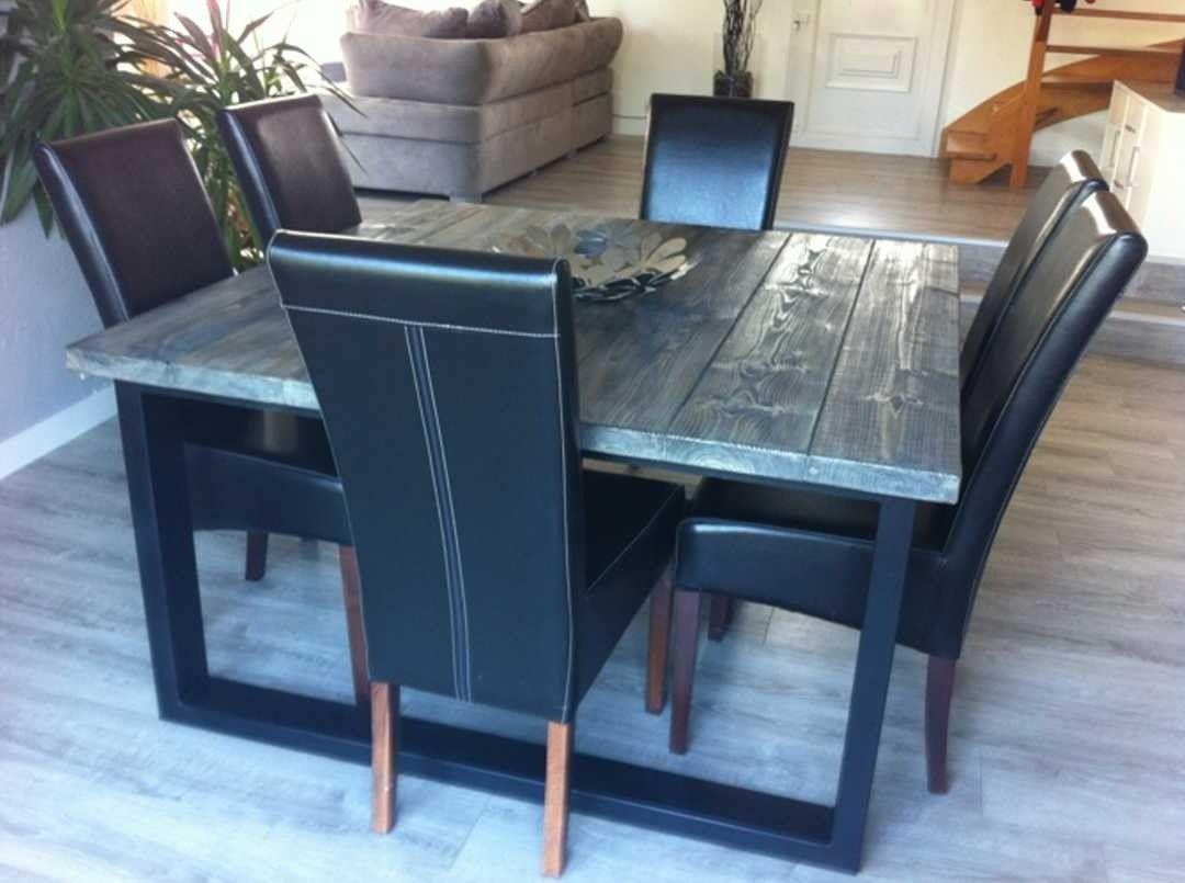 table de salle  manger style industriel acier et bois  MOBILIER  Pinterest  Acier
