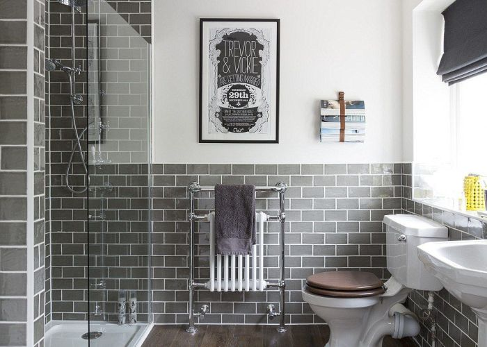 Grey wall tiles this image of  refurbishment in buckinghamshire posted by interior therapy has been saved more than times houzz users also britain   most coveted interiors are revealed