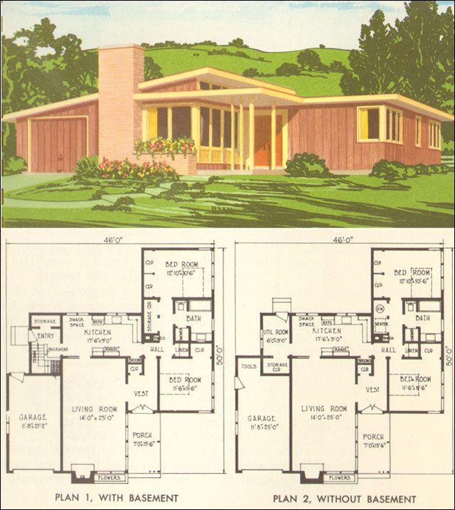 Mid Century Modern House Plan No 5305 1954 National Plan