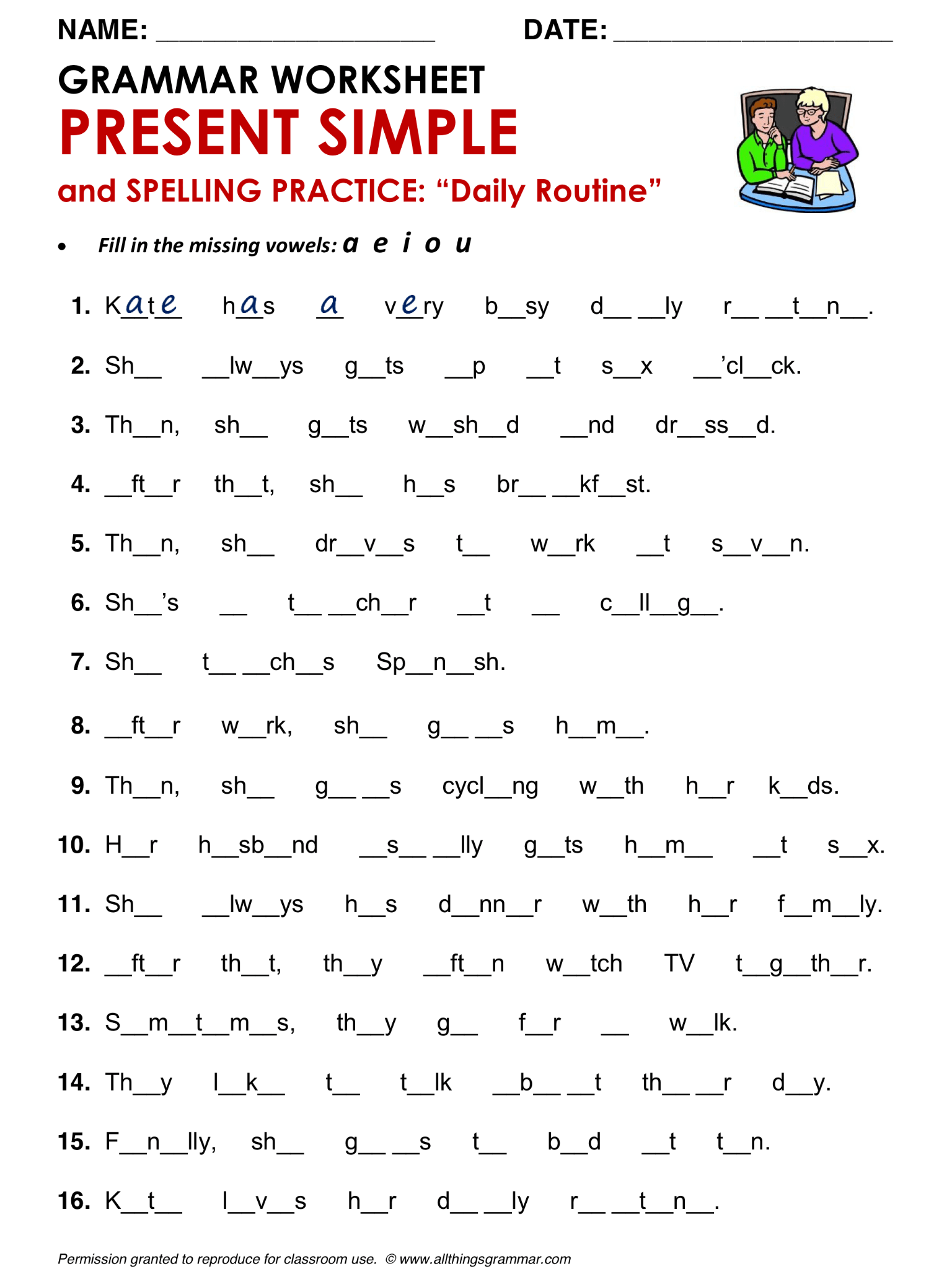 English Grammar Present Simple And Spelling Practice