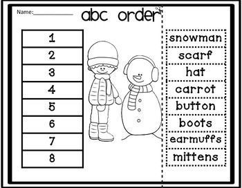 ABC Order Cut and Paste Printable for winter This is a