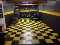 Black and yellow snap together garage flooring tiles ideas ...