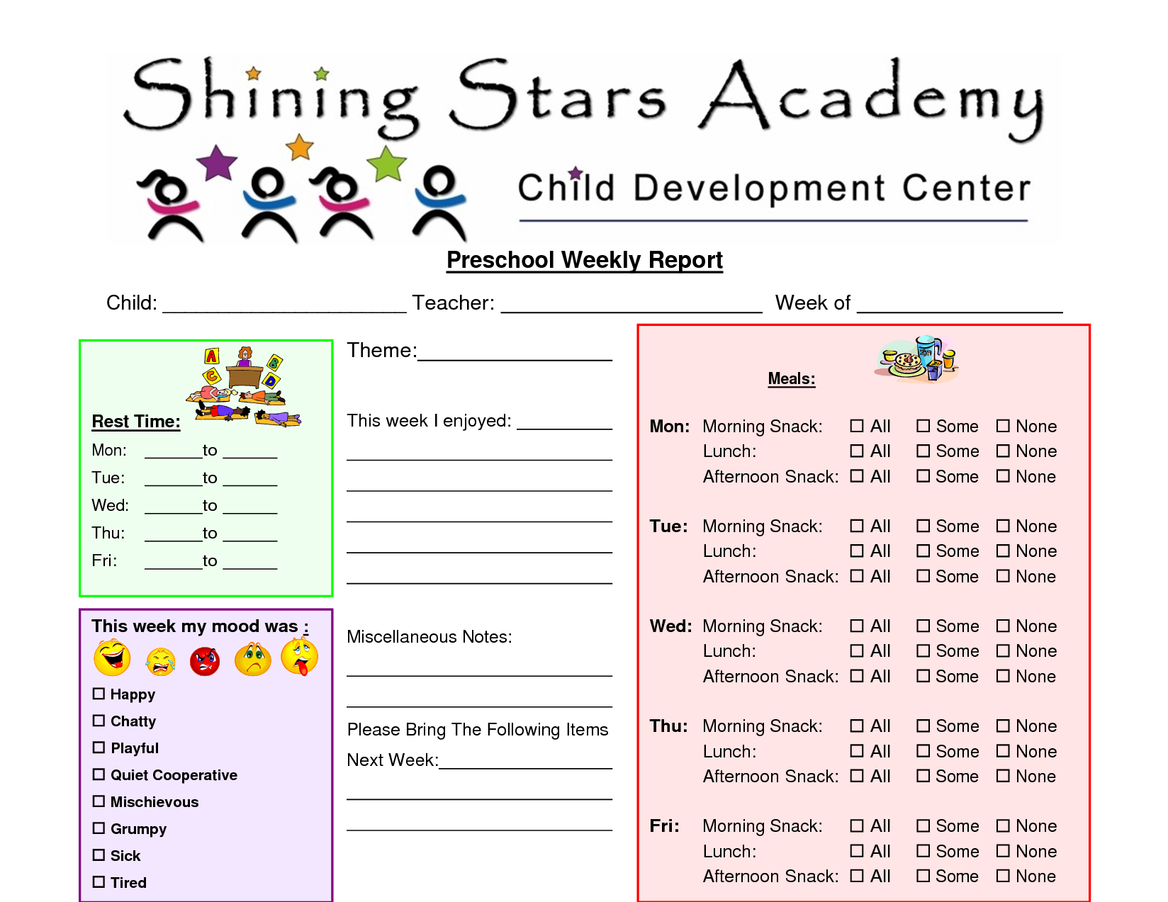 Free Printable Pre School Prgress Reports