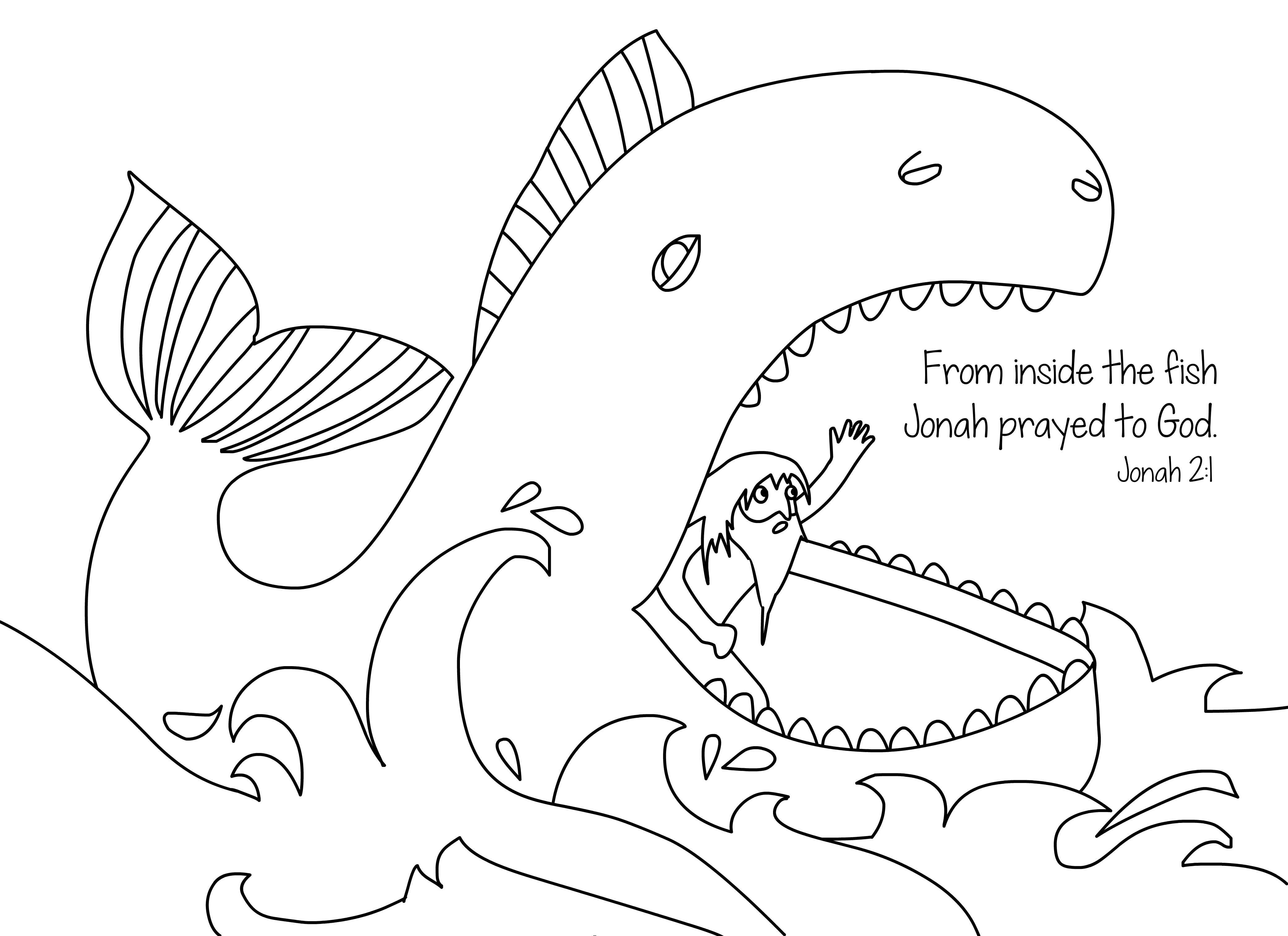 Jonah and the whale free bible coloring page from Cullen's