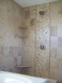 Natural Stone Tile Shower and Tub Surround, Tile Flooring ...
