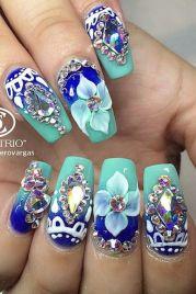 # royal blue turquoise rhinestone