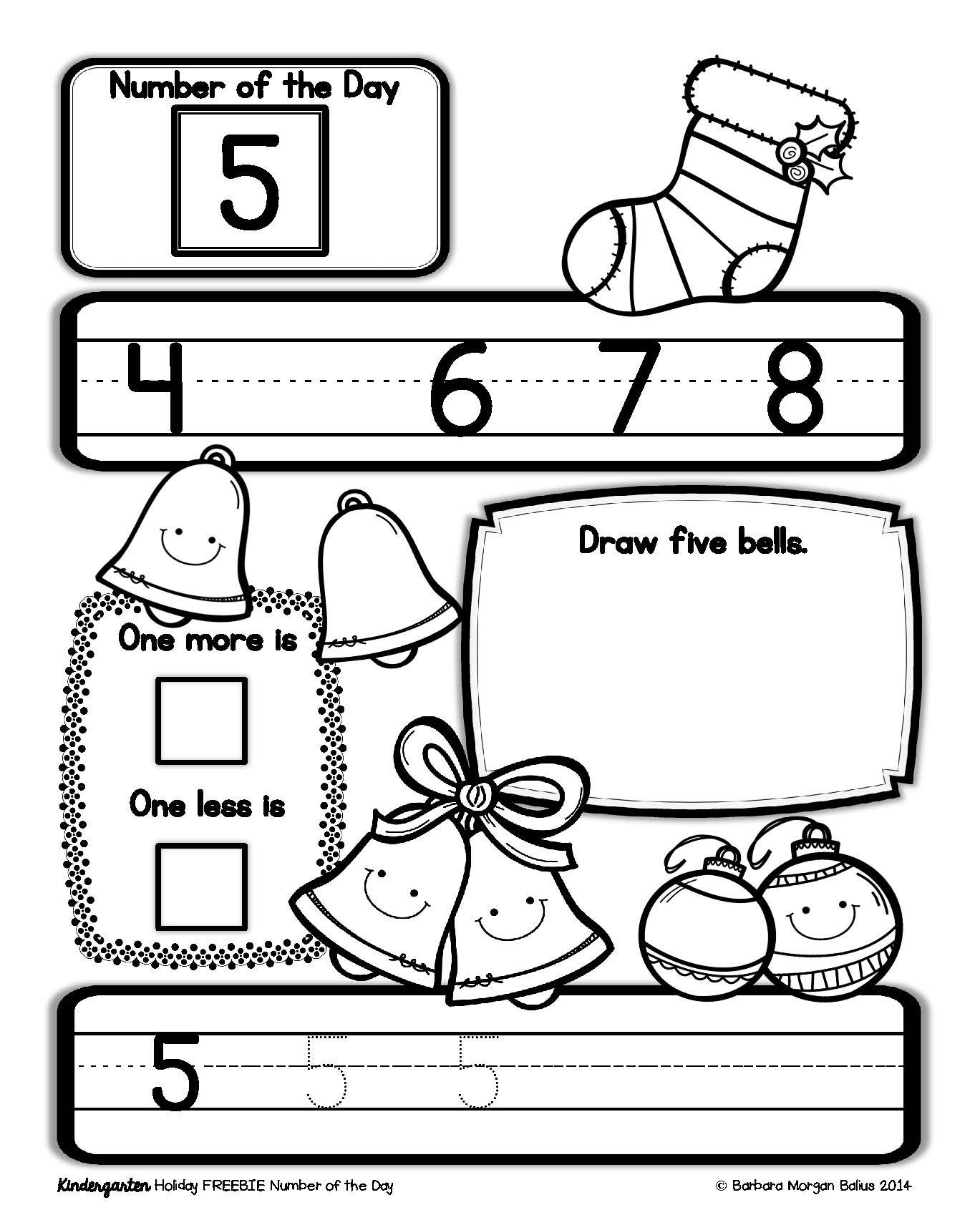 Kindergarten Holiday Number Of The Day Freebie Gives Your