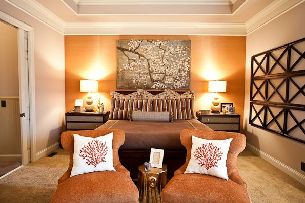 Don   like all the decor but burnt orange accent wall bedroom with chairs eric ross interiors also rh pinterest