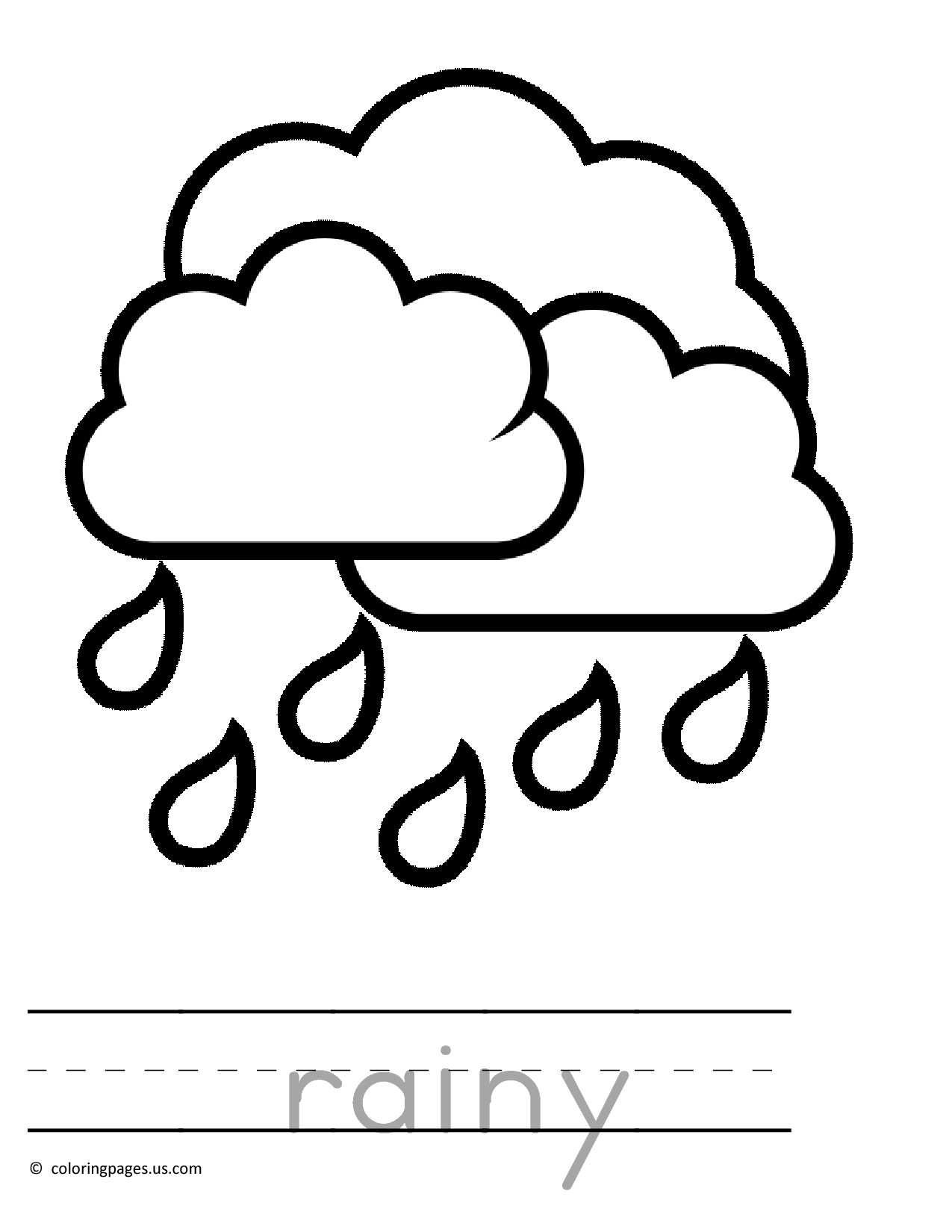 Raining Preschool Coloring Pages 01
