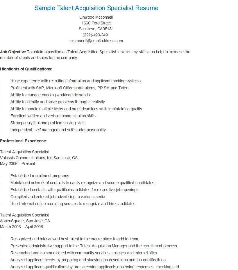 Talent Specialist Sample Resume Professional Talent Acquisition