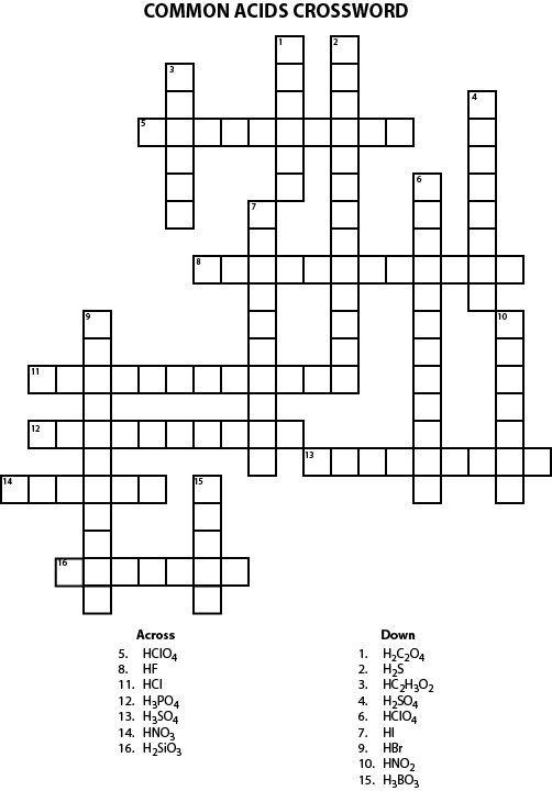 Common Acids Crossword Puzzle: Common Acids Crossword