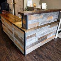 Reclaimed barn board reception desk by barnboardstore ...