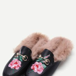 9a56ef8ed5a Gucci Princetown Fur Lined Leather Backless Loafers ( 995