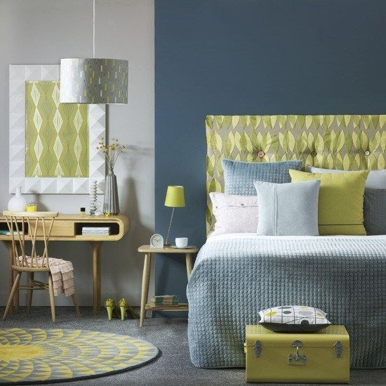 yellow and gray accent bedroom Blue and grey bedroom with yellow and white accents | H0ME DEC0R | Pinterest | Grey, Blue and