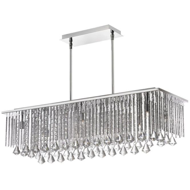Dainolite 10 Light Crystal Horizontal Chandelier In Polished Chrome