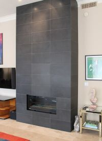 dark gray tile fireplace - Google Search | Fireplace ...
