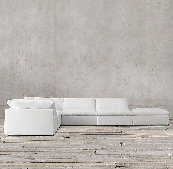italia sofa rh burnt orange leather cloud cube modular customizable sectional. hands down the ...