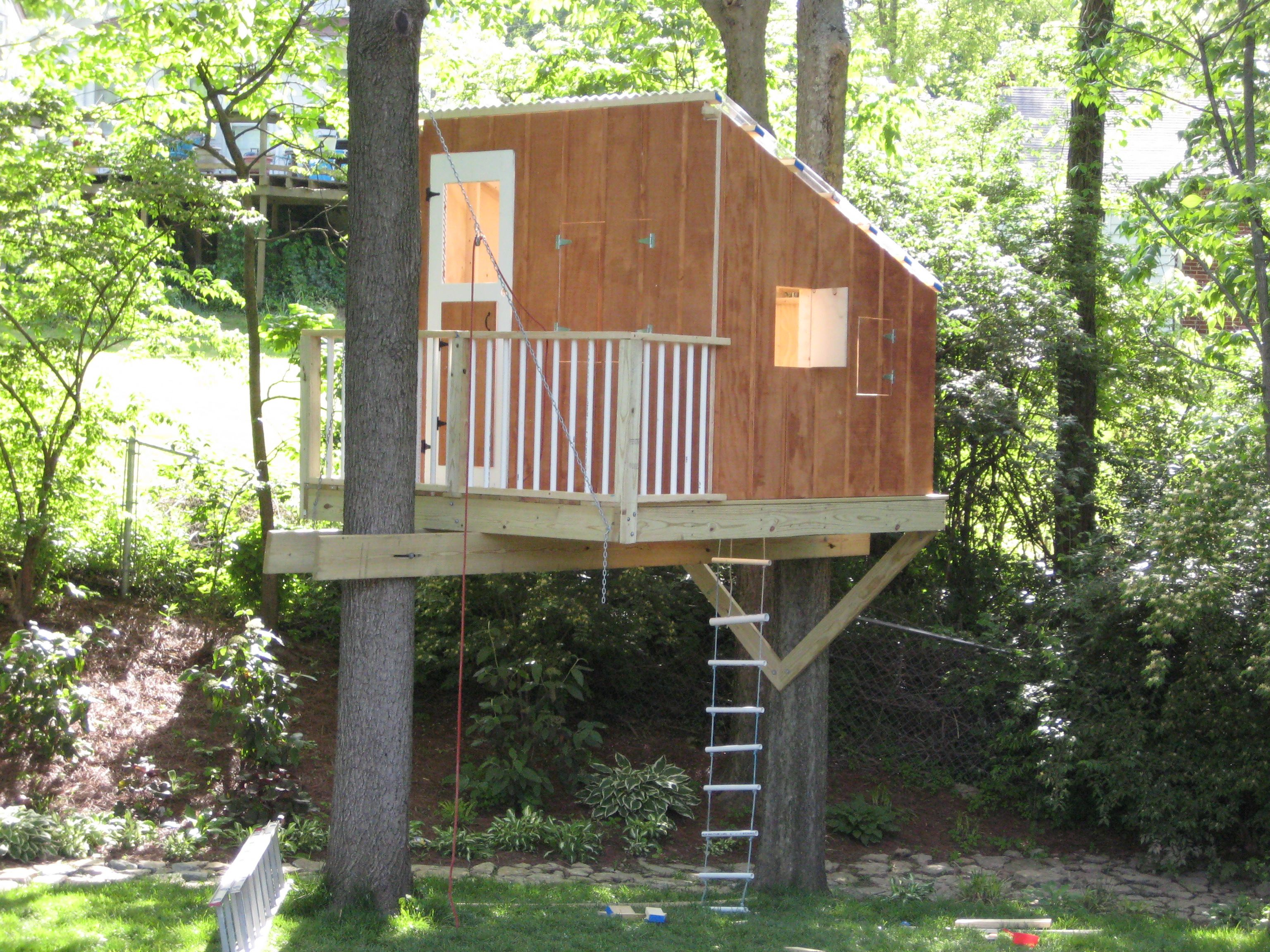 Awesome And Simple Tree House! Some Great Things To Note Railing