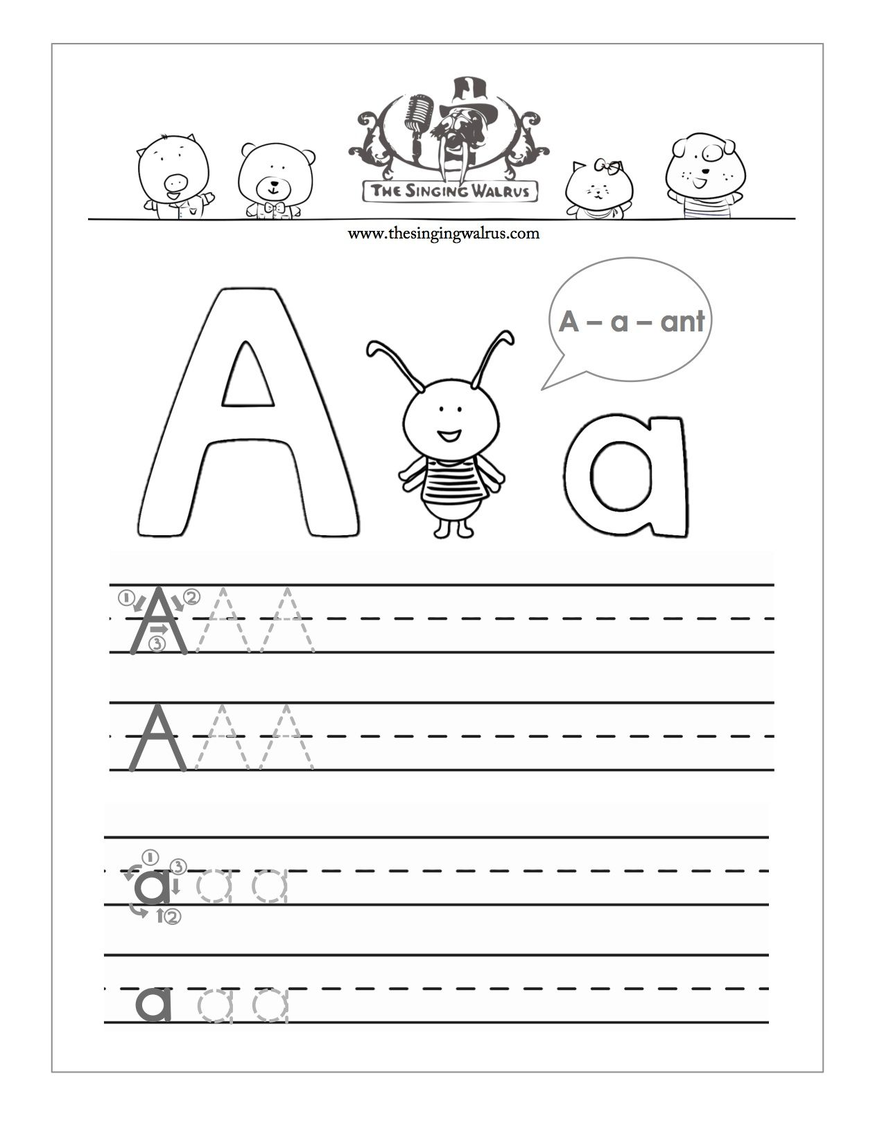 Free Printable Letter A Practice Sheet For Kids A Combination Of Colouring Page