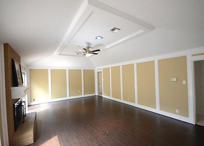 Living room dark laminate wood flooring new celing fan paneling also