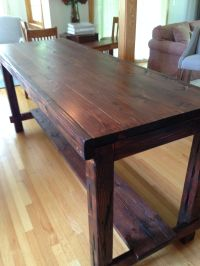 Counter Height Farm Table in custom Red Mahogany, aged and ...