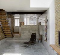 The converted basement with polished concrete floors ...