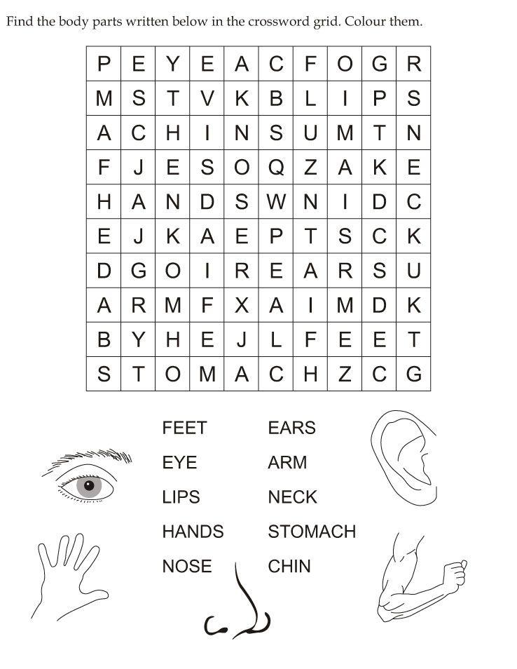 Find the body parts written below in the crossword grid