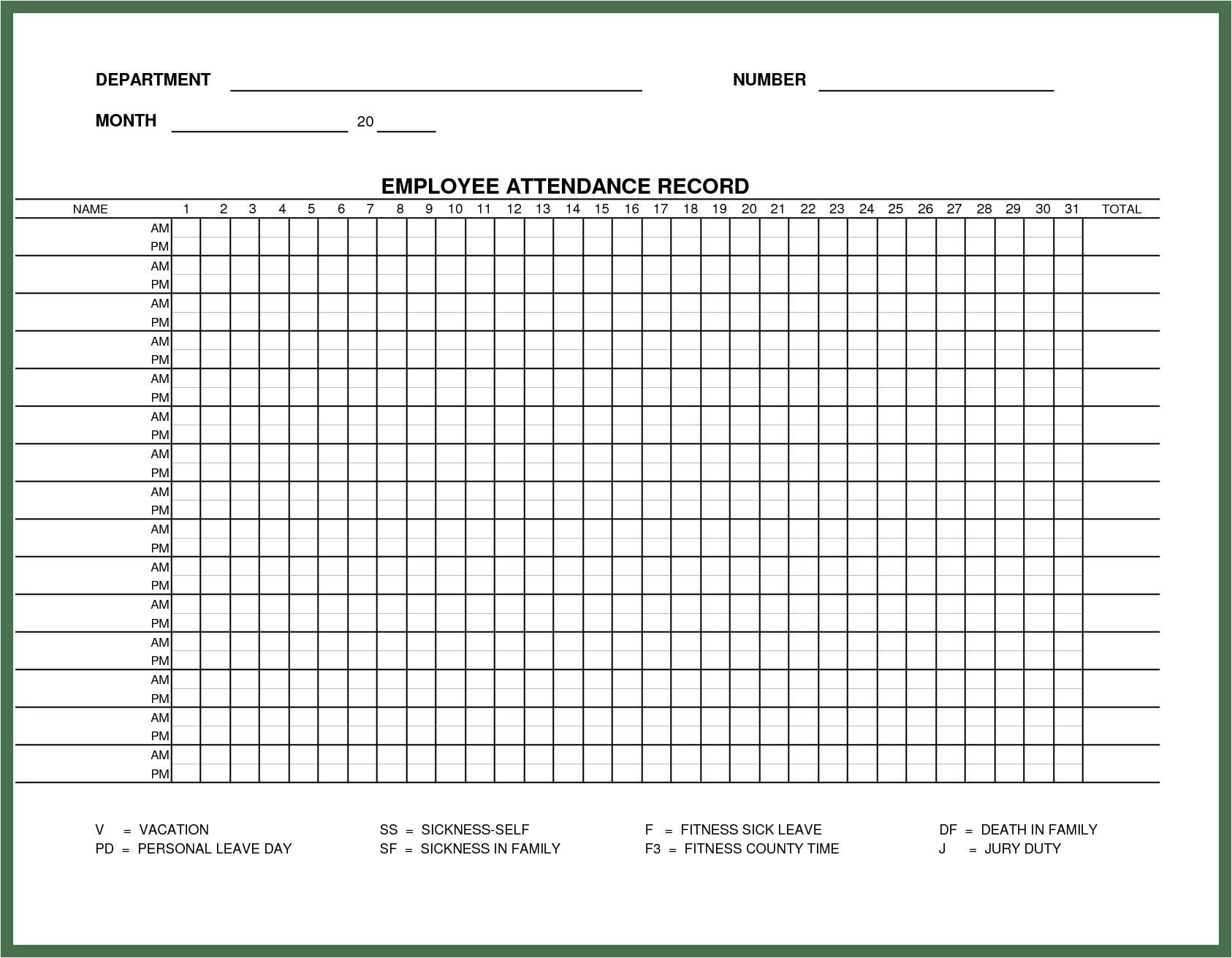 Monthly Attendance Sheet Templates Excel Xlts Rent Receipt
