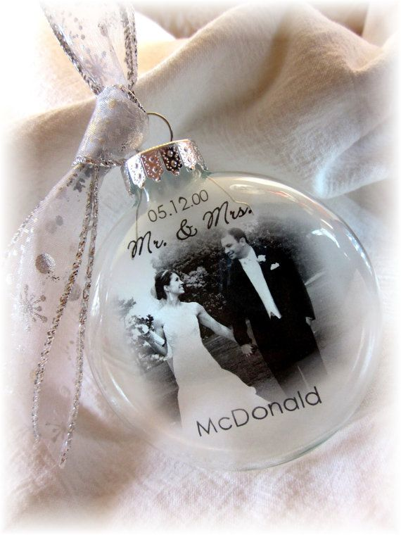 MR  MRS Custom First Christmas Wedding Holiday Glass Photo Ornament Keepsake  Large Over 3